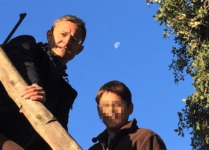 Hunting in family in Spain. Children